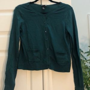 H&M Green Cropped Cardigan XS